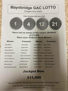 Mayobridge GAC Lotto Monday 29th June 2020