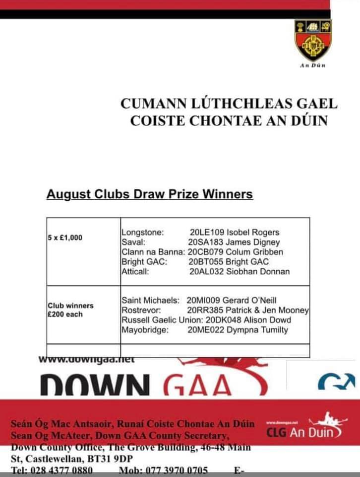 August Down Clubs Draw Winners 2020